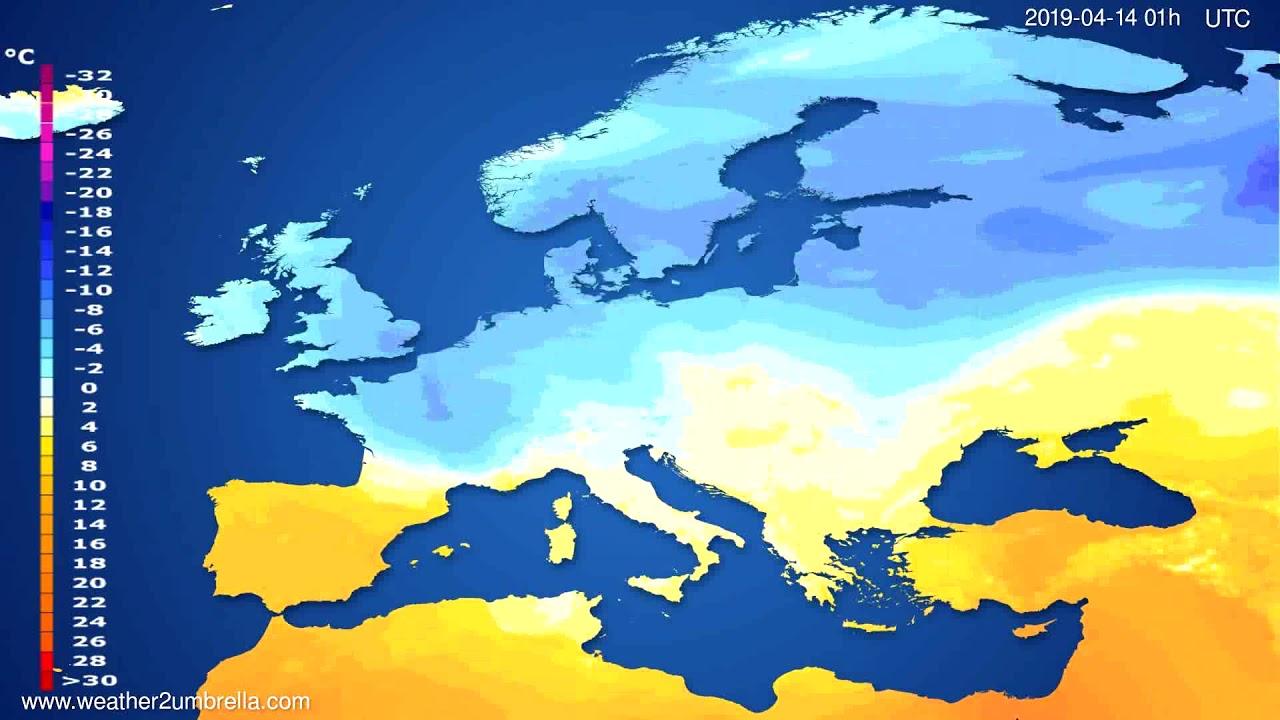 Temperature forecast Europe // modelrun: 00h UTC 2019-04-12