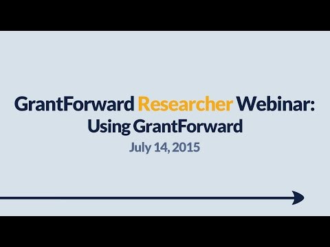 GrantForward Webinar held on July 14, 2015, for researchers and faculty at subscribing institutions. This webinar covers using GrantForward in general-- how to create accounts, search for grants, view grant and sponsor pages, use filters, manipulate results, create profiles, and receive grant recommendations. For more information about how to use GrantForward, visit www.GrantForward.com/support.