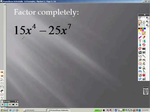 Algebra 6 4 Part 1 Examples Factoring and Solving Polynomial Equations
