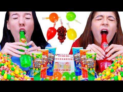 ASMR Rainbow Desserts (Korean Candy, Nerds Rope, Sour Gel) Mukbang Eating Sounds LiLiBu