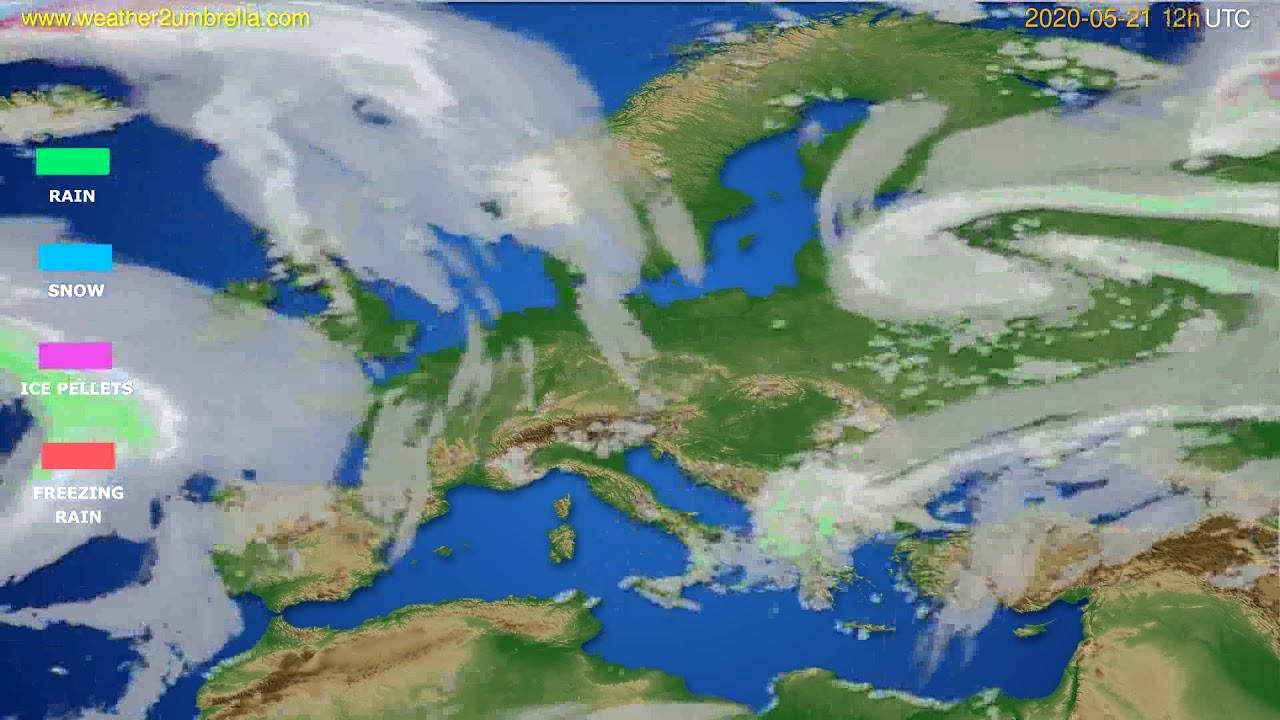 Precipitation forecast Europe // modelrun: 00h UTC 2020-05-21