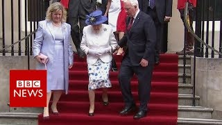 """Canada's Governor General David Johnston has said a """"slippy"""" carpet was to blame for an apparent breach of royal etiquette with the Queen.He was seen to be lightly touching the Queen's elbow as she descended some steps, during an event in London to mark Canada's 150th birthday.""""I was just anxious to be sure there was no stumbling on the steps,"""" he told CBC News. Please subscribe HERE http://bit.ly/1rbfUogWorld In Pictures https://www.youtube.com/playlist?list=PLS3XGZxi7cBX37n4R0UGJN-TLiQOm7ZTPBig Hitters https://www.youtube.com/playlist?list=PLS3XGZxi7cBUME-LUrFkDwFmiEc3jwMXPJust Good News https://www.youtube.com/playlist?list=PLS3XGZxi7cBUsYo_P26cjihXLN-k3w246"""