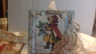 Vintage Christmas tags using Tsunami Rose Christmas List. Card stock, music paper, fabric, cheesecloth, trims, laces, doilies and buttons adorn these images....