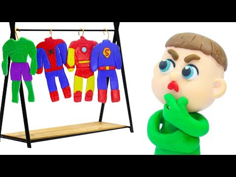 BABY NEW SUPERHERO COSTUME IDEAS  Play Doh Stop Motion Cartoons