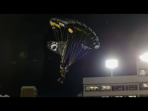 notre - Courtesy http://www.seminoles.com: See how parachute jumpers delivered the game ball for the Florida State vs. Notre Dame game through their eyes.