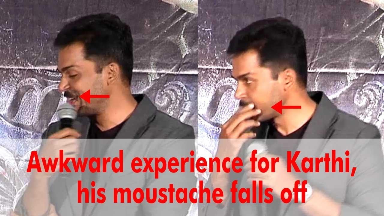 its happen to karthik in kashmora movie press meet.