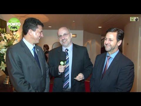 Ricardo Orlandini entrevista Robinson Klein e Luís Mário Luchetta no evento de final de ano e posse da nova diretoria da Assespro-RS.