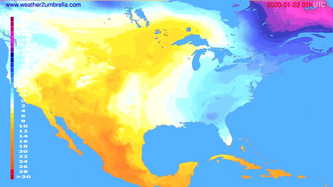 Temperature forecast USA & Canada // modelrun: 12h UTC 2020-01-20