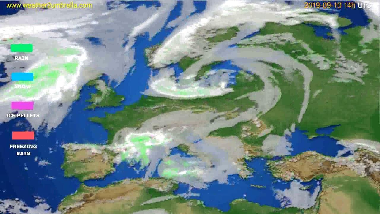 Precipitation forecast Europe // modelrun: 12h UTC 2019-09-08
