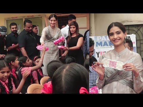 Sonam Kapoor DISTRIBUTES Sanitary Pads To School G