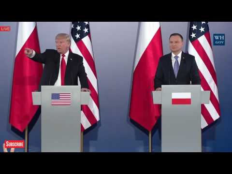 President Donald Trump on Wrestling Video, North Korea, Joint Press Conference with Andrzej Duda