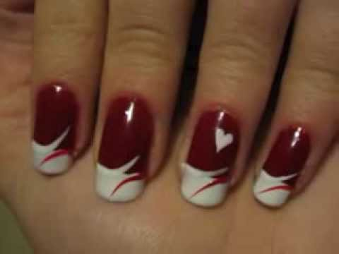 manicure flores - Another Valentine's Day tutorial. A french manicure with red and white and three little hearts. I hope you like it! Please rate/comment/ subscribe and visit ...