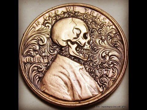 Hand Engraving Process Used to Turn Lincoln s Penny Profile Into a Skull With