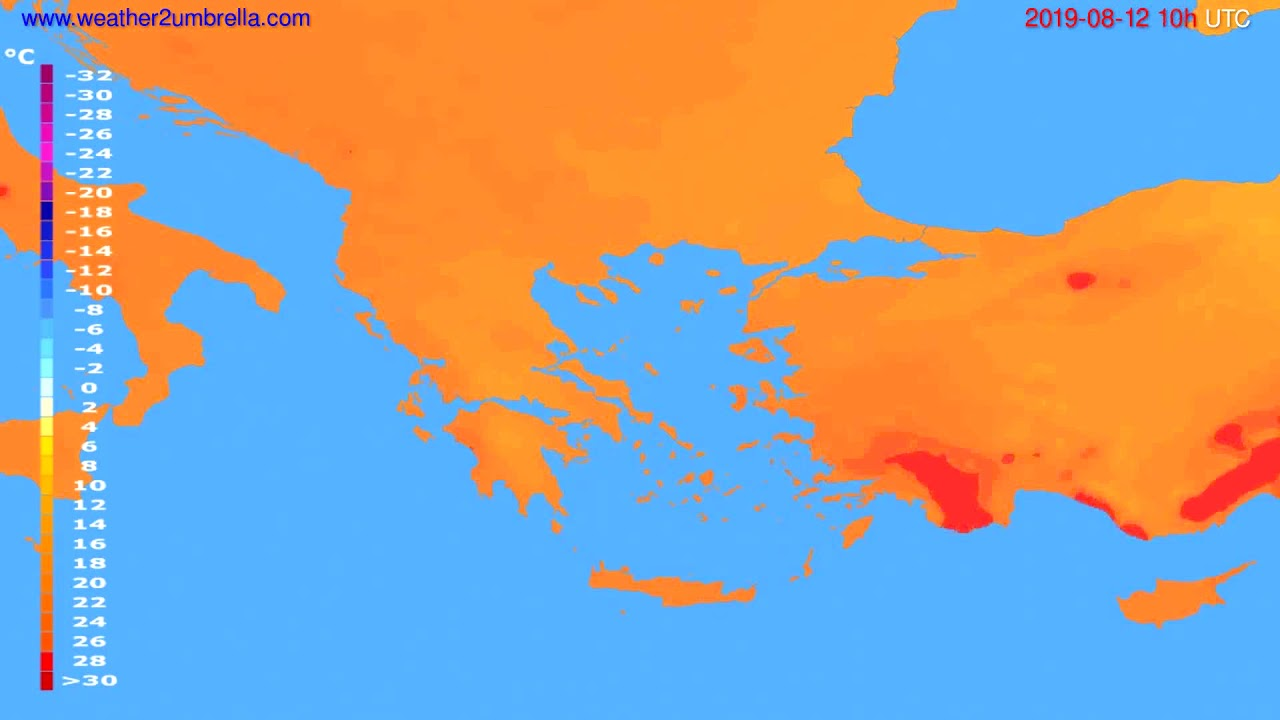Temperature forecast Greece // modelrun: 12h UTC 2019-08-09