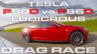 Tesla Model S P90D Ludicrous vs P85D Ludicrous Drag Race by DragTimes