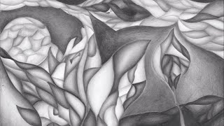 Abstract graphite pencil drawing - Hidden flower [Timelapse]
