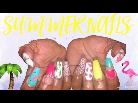 Summer Nails Tutorial  Acrylic Nails Design Tutorial