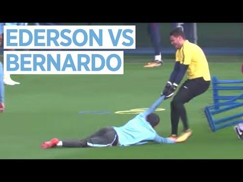 Video: EDERSON VS BERNARDO SILVA | Man City vs Shakhtar Donetsk | Champions League Training
