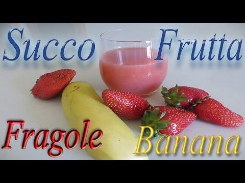 succo di frutta fatto in casa: fragola, banana e limone