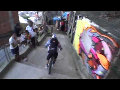 REDBULL downhill MTB bike race in Brazilian favela