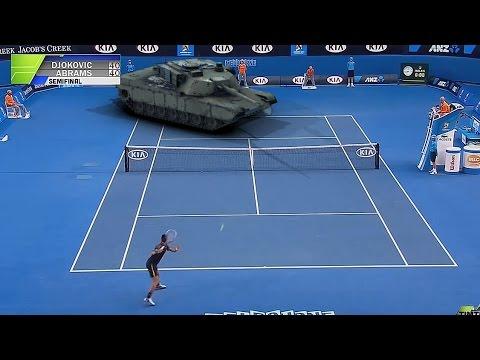 A Hilarious Short Video Featuring a Tennis Match Between Pro Player Novak Djokovic and an M1 Abrams