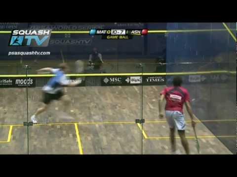 Squash : Nick Matthew v Ramy Ashour : BEST Squash Rally EVER? Example A, PSA El Gouna Squash 2012