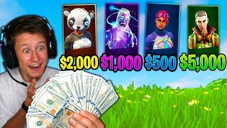 RANDOM RARE SKIN MONEY CHALLENGE In Fortnite Battle Royale! ($20,000) *NEW RARE SKINS*