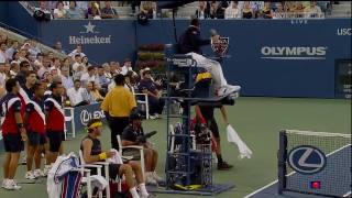 Even the tennis GOAT gets mad with the umpire sometimes... This happened because the umpire allowed Del Potro to challenge a line call 10 seconds after the l...