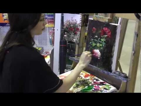 flower painting - Sally Mehdizadeh, artist and teacher paints an impressionistic floral sketch for visitors to Art Shed Brisbane.