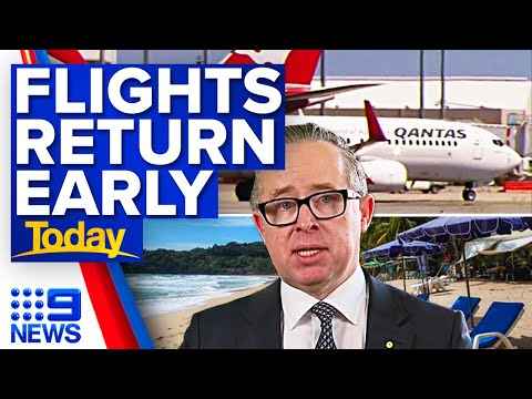 Qantas to restart international flights early | Coronavirus | 9 News Australia