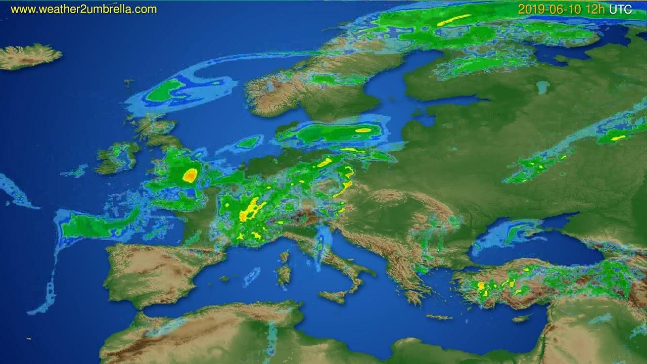 Radar forecast Europe // modelrun: 00h UTC 2019-06-10