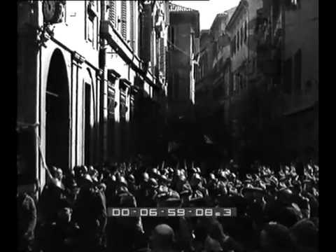 Cerimonia di traslazione di 5 salme di caduti fascisti dalla chiesa di San Petronio alla Certosa