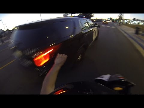 Cops - http://bloxstarzlifestyle.com Watch as motorcycle running from the police crashes into a curb. The video starts with street bike stunt rider putting a I don't stop for cops sticker on the...