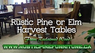 Mennonite Rustic Pine or Elm Mennonite Harvest Tables from Reclaimed Wood