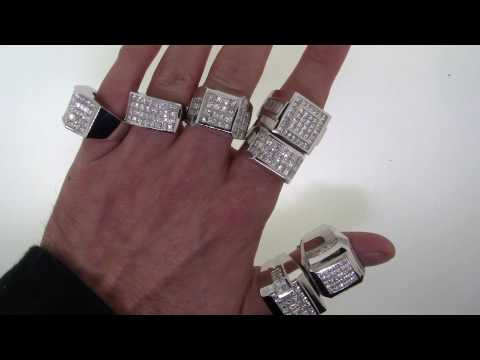 Over 50 Carats Of Mens White Gold Diamond Rings on TheJewelryMaster.Com