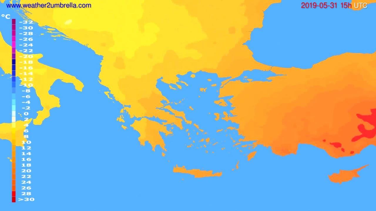 Temperature forecast Greece // modelrun: 12h UTC 2019-05-28