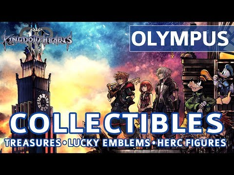Kingdom Hearts 3 - Olympus All Collectible Locations (Lucky Emblems & Treasures)