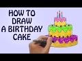 How To Draw a Birthday Cake For Kids Step By Step | Drawing Lessons For Kids
