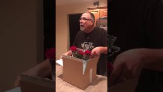 Dad was surprised by Rose Bowl Tickets from Mom.