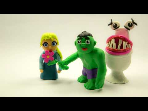 Frozen Elsa Play Doh Superheroes in Real Life Stop Motion - Hulk GIANT VAMPIRE TOILET ATTACK!