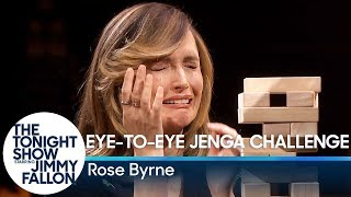 Rose Byrne Takes on the Eye-to-Eye Jenga Challenge