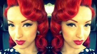 Retro Vintage Pin Curls Using A Clipless Iron or Curling Iron HD - YouTube