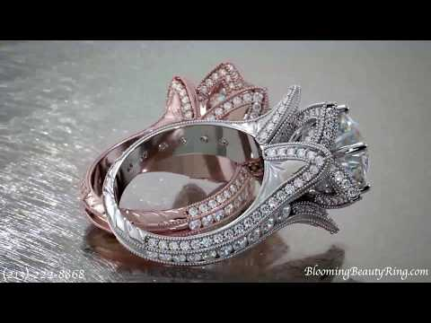 Rose Gold Wedding Ring Sets For Her By BloomingBeautyRing.com