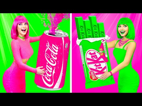 PINK VS GREEN COLOR FOOD CHALLENGE || Funny One Color Mukbang by RATATA