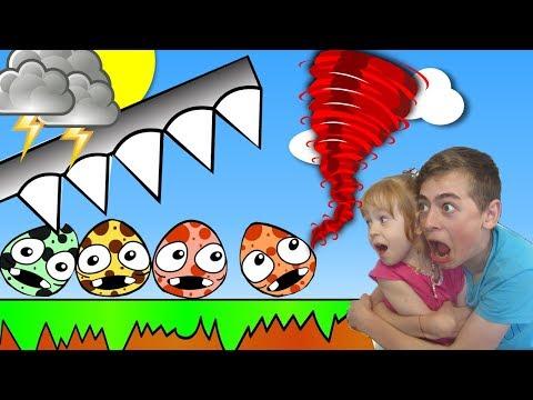 РАЗБИВАЕМ ЯЙЦА ТОРНАДО и ЗЕМЛЕТРЯСЕНИЕ  видео игра для детей на канале GAMES FACTORY (видео)