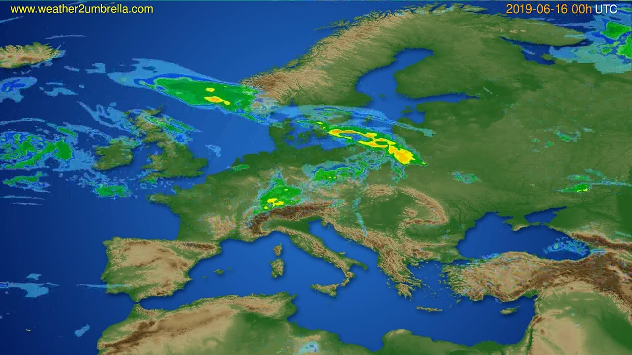 Radar forecast Europe // modelrun: 12h UTC 2019-06-15