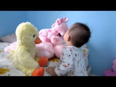 Cute baby kisses stuffed animals