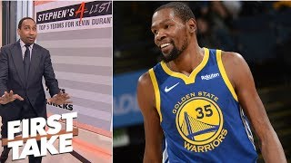 Stephen A. gives his top 5 teams Kevin Durant should go to in free agency   First Take