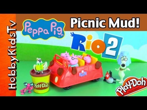 pig - HobbyKidsTV presents the Peppa Pig family driving in their talking car to a picnic. They run into mud... or is it poo? Nigel from RIO 2 movie pranks the Pepp...