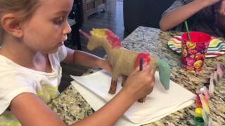 Lily and Chloe Paint Unicorns and Shopkins!